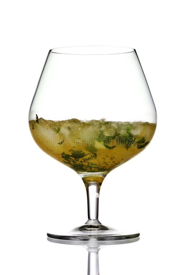 Mint julep cocktail. Originating from the southern states of America. Can be made with bourbon or whisky with mint stock images