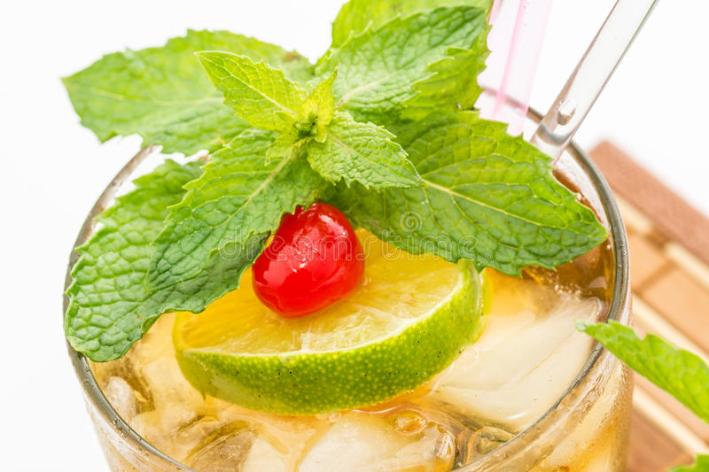 Mint Julep. A sweet cocktail originated in the southern United States. This cocktail is family of the smash drinks like the mojito and brandy smash. It is made royalty free stock photo