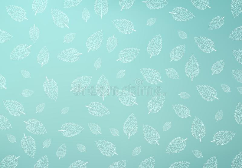 Mint leaf pattern, Green mint gradient mesh Background stock illustration