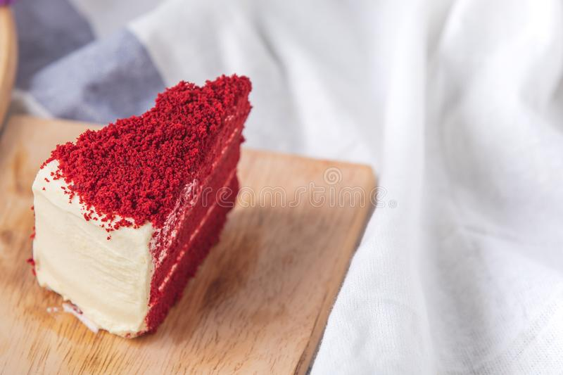 Red velvet cake Delicious food placed on tray with white cloth as background, close up shot of colorful bakery stock photography