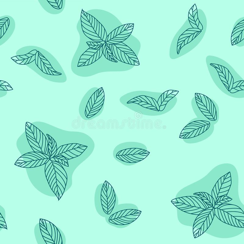 Mint leaves hand drawn vector seamless pattern. Peppermint, spicy herbs, kitchen texture, Doodle cooking ingredient for design pac. Kage tea, wallpaper royalty free illustration