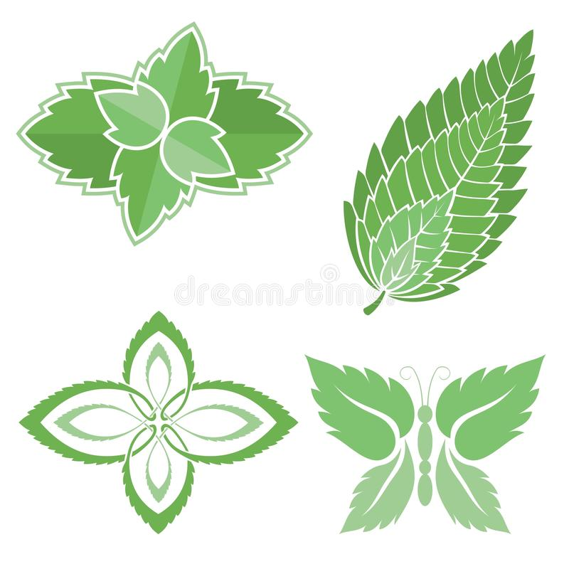 Mint Leaves Icons Stock Photo