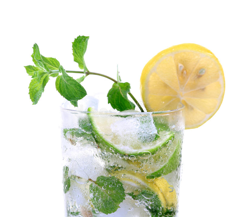 Mint and lemon soda drink royalty free stock photos