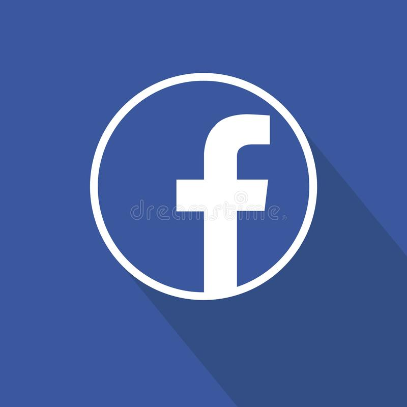 Facebook flat icon design over blue background. Clean vector symbol. Social media sign. Round icon design with facebook letter. Simple icon with shadow