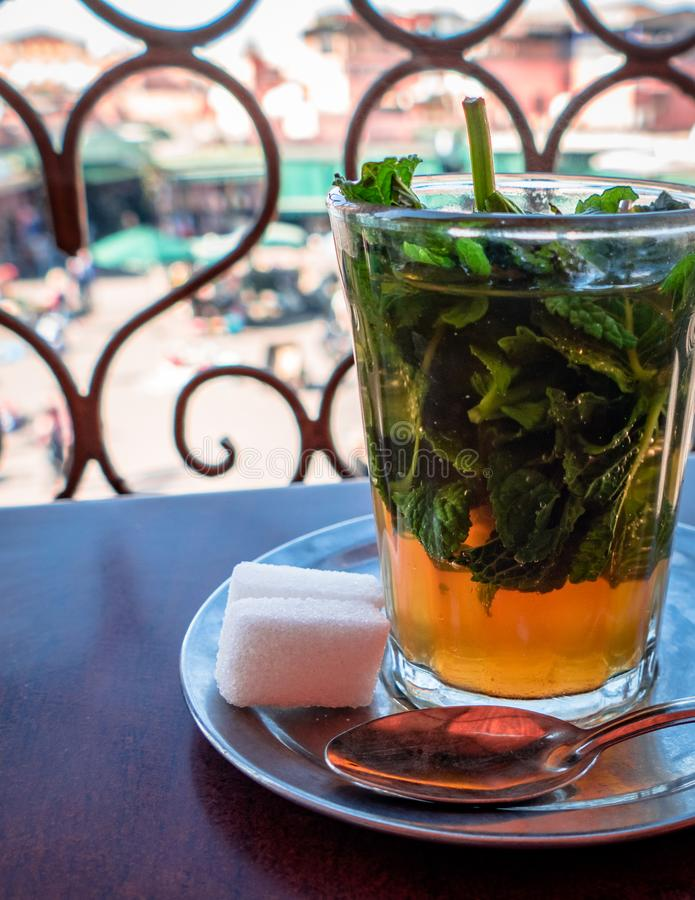 Image of Traditional Mint Tea Drink from Marrakesh Morocco stock image