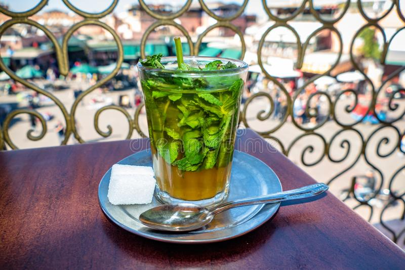 Image of Traditional Mint Tea Drink from Marrakesh Morocco stock photo