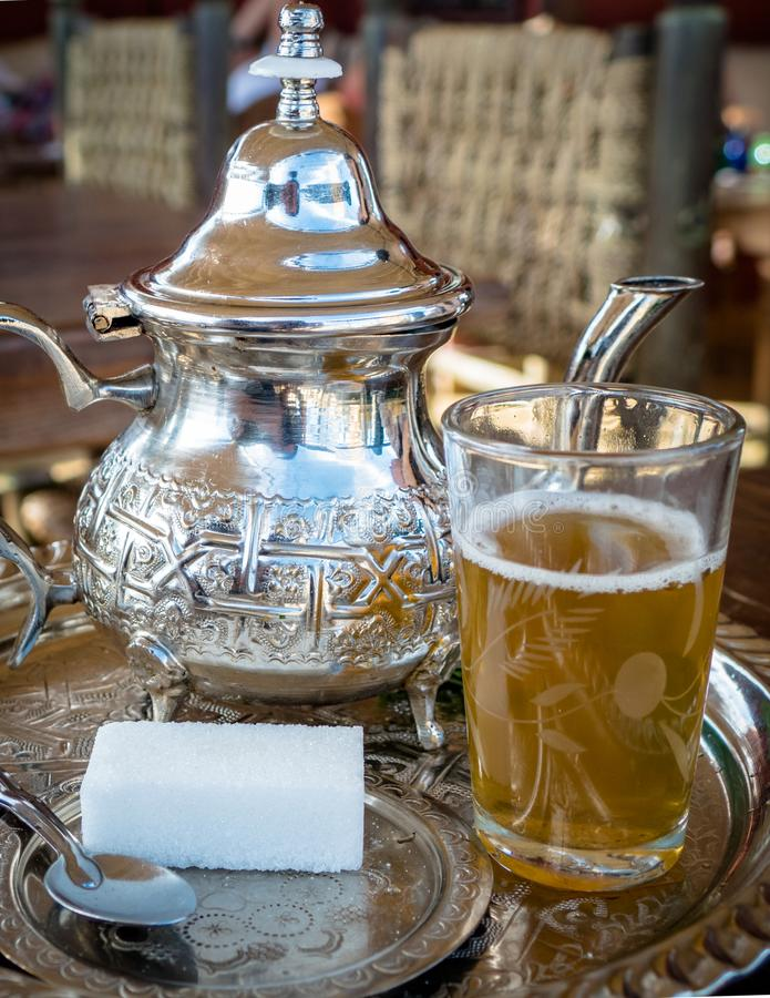 Image of Traditional Mint Tea Drink from Marrakesh Morocco stock photography