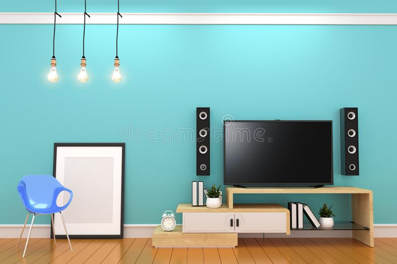 Mint wall on orange floor with smart tv on carbines, frame and lamp design. 3D rendering. Mock up Mint wall on orange floor with smart tv on carbines, frame and stock illustration