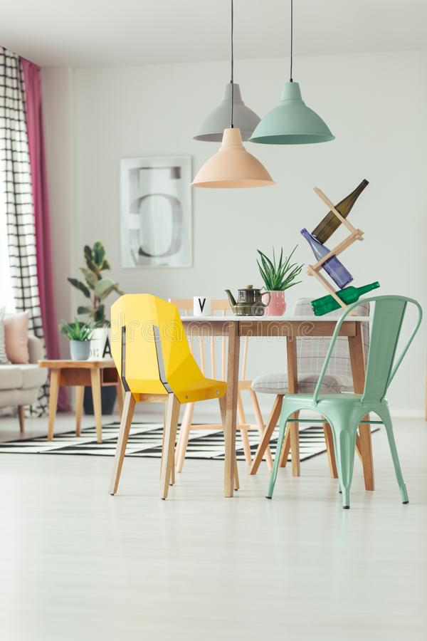 Mint and yellow dining room royalty free stock photos