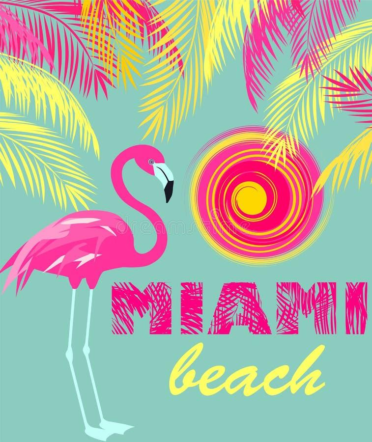 Mintkaramellfärgaffisch med Miami Beach bokstäver, sol, rosa färger och gulingpalmblad och flamingo Art décostil vektor illustrationer