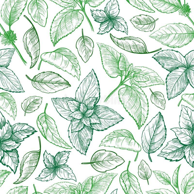 Mintkaramellhanden skissar sömlös textur för vektor vektor illustrationer