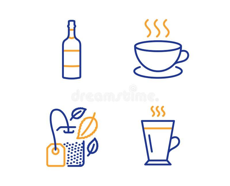 Mintkaramellp?se, konjakflaska och cappuccinosymbolsupps?ttning Lattetecken Menthate, whisky, espressokopp Teexponeringsglas r?na royaltyfri illustrationer