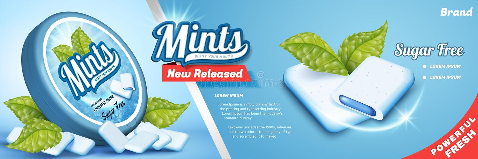 Mints gum ads. Freshen breath product with mint leaves isolated on blue background, gum with cool fillings royalty free illustration