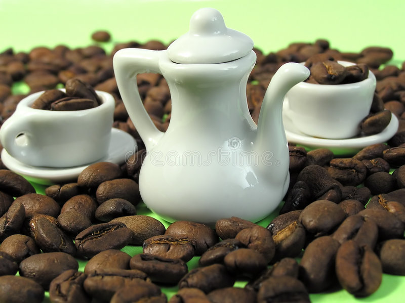 Minu cups, jug and coffee royalty free stock photos