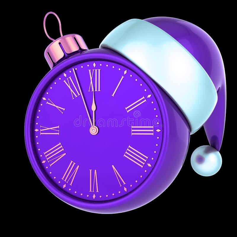 Minuit pourpre d'heure de nouvelle année de visage d'horloge de boule de Noël dernier illustration libre de droits