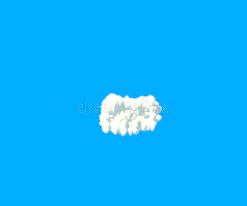 Minus dash made of dense white clouds on blue background, cloud font - 3D illustration of symbols. Clouds creative alphabet, white cloudy minus dash isolated on royalty free illustration