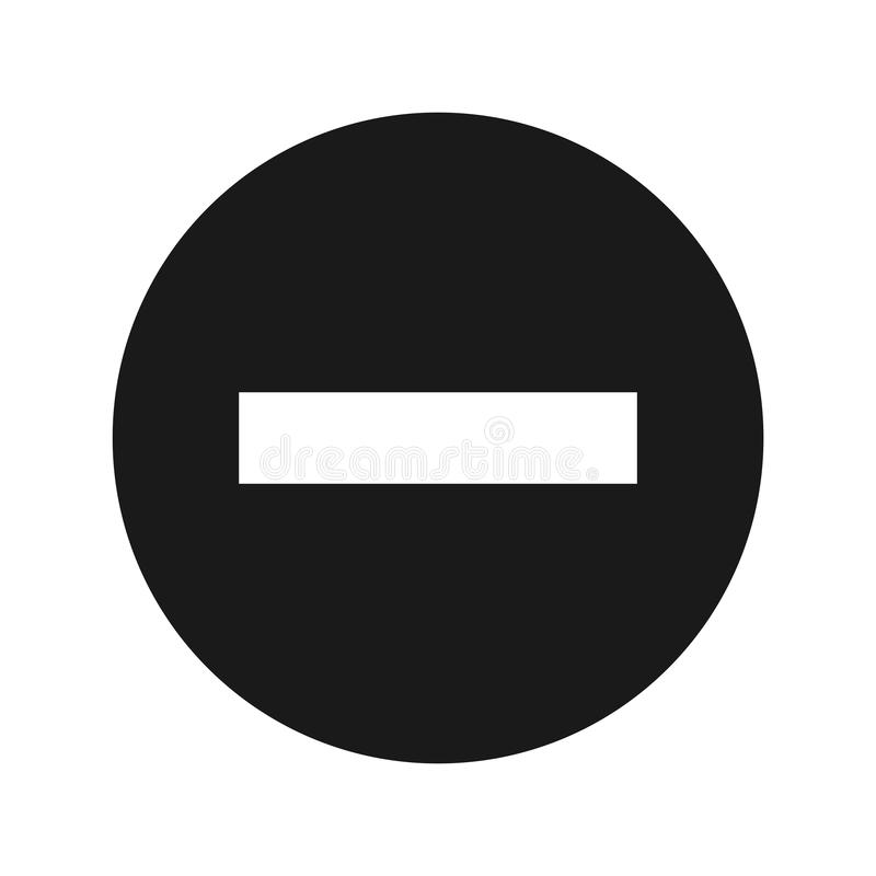 Minus icon flat black round button vector illustration. Minus icon vector illustration design isolated on flat black round button vector illustration