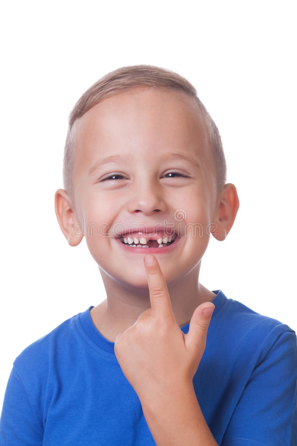 Minus one. Happy toddler with minus one tooth stock image