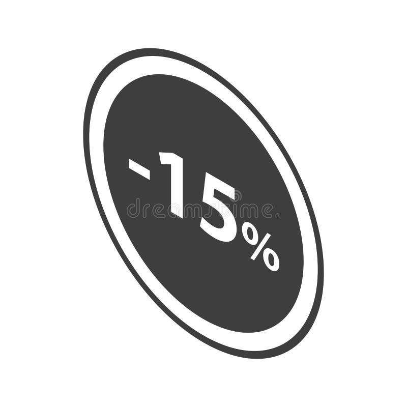 Minus 15 procentów sprzedaży czerni emblemata ikona, isometric styl ilustracji