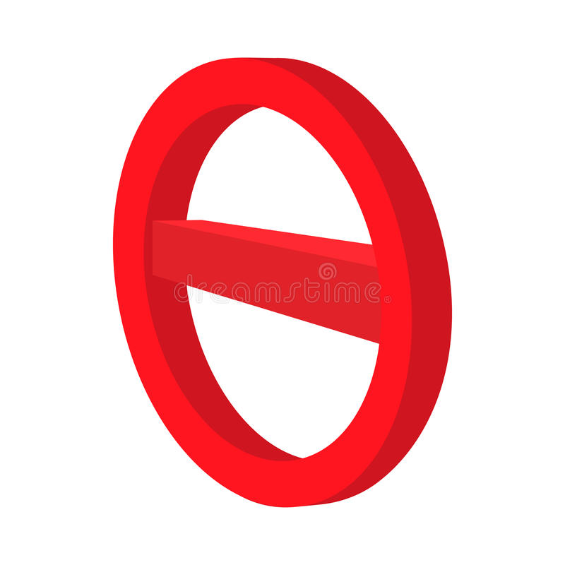 Minus red in a red circle icon, cartoon style. Minus red in a red circle icon in cartoon style on a white background royalty free illustration