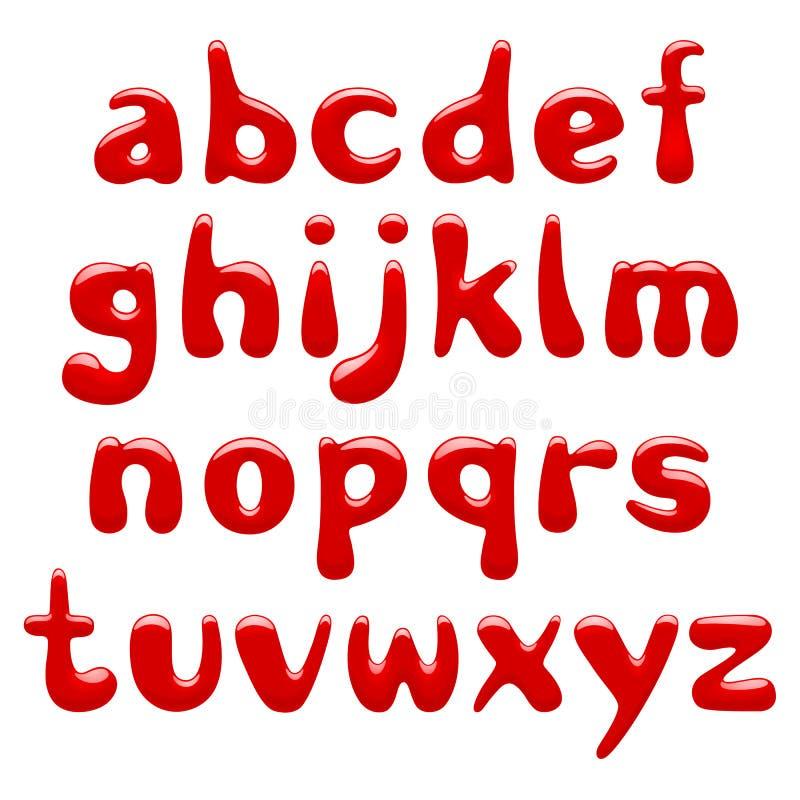 Minuscules d'alphabet brillant rouge d'isolement sur le fond blanc illustration stock