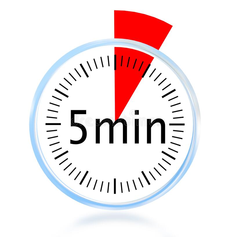 5 Minute Min Clock Isolated Background - 3d Rendering Stock Illustration -  Illustration of business, counting: 179092877