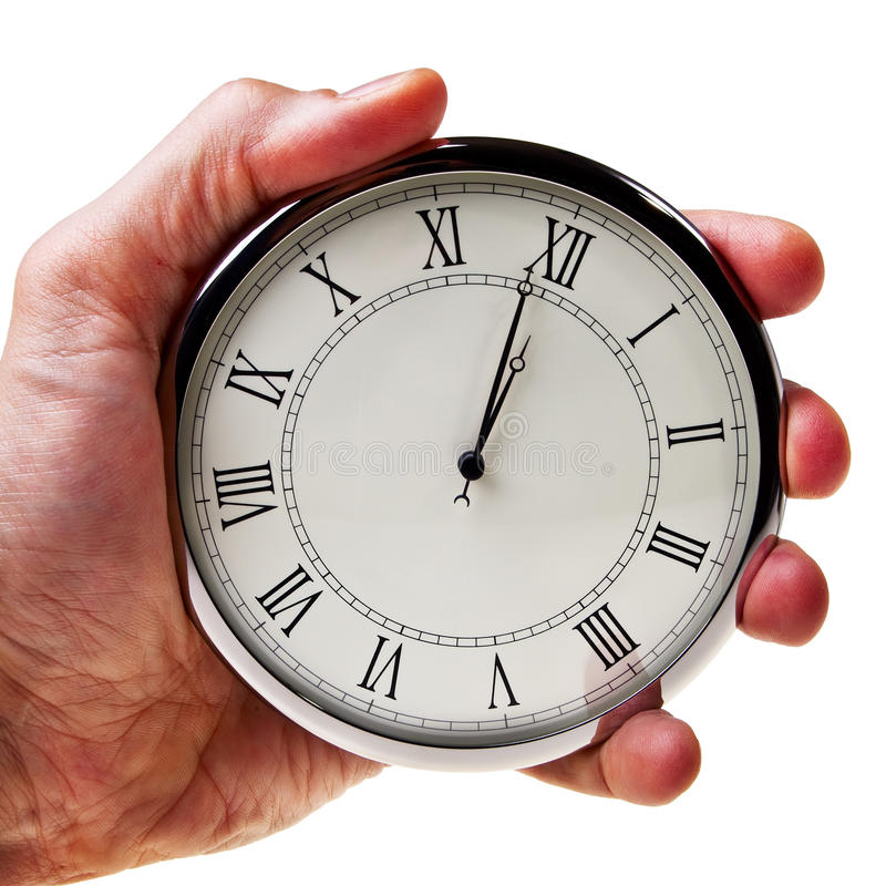 Download Minute To Midnight Or Noon On Retro Watch. Stock Image - Image of timer, isolated: 22708749