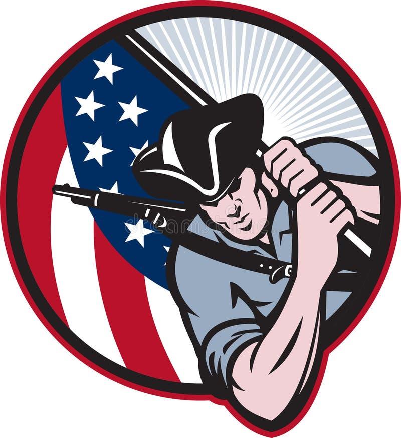 Minuteman americano del patriota con el indicador libre illustration