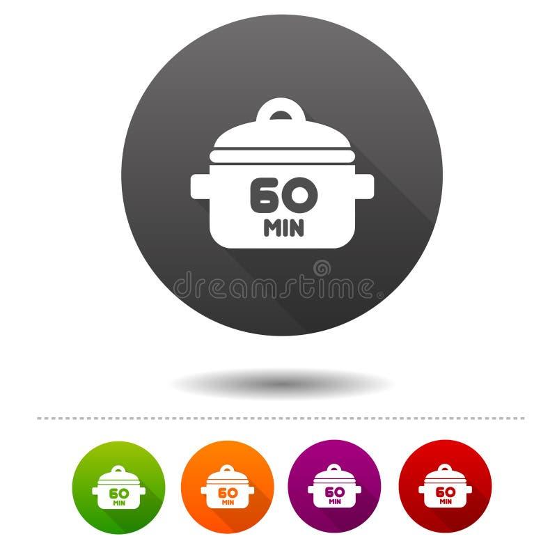 60 Minuten Ikone kochend Blutgeschwürsymbolzeichen Netzknopf lizenzfreie abbildung