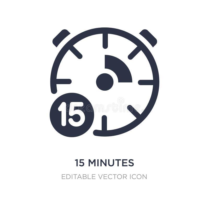 15 minuten pictogram op witte achtergrond Eenvoudige elementenillustratie van Algemeen concept stock illustratie