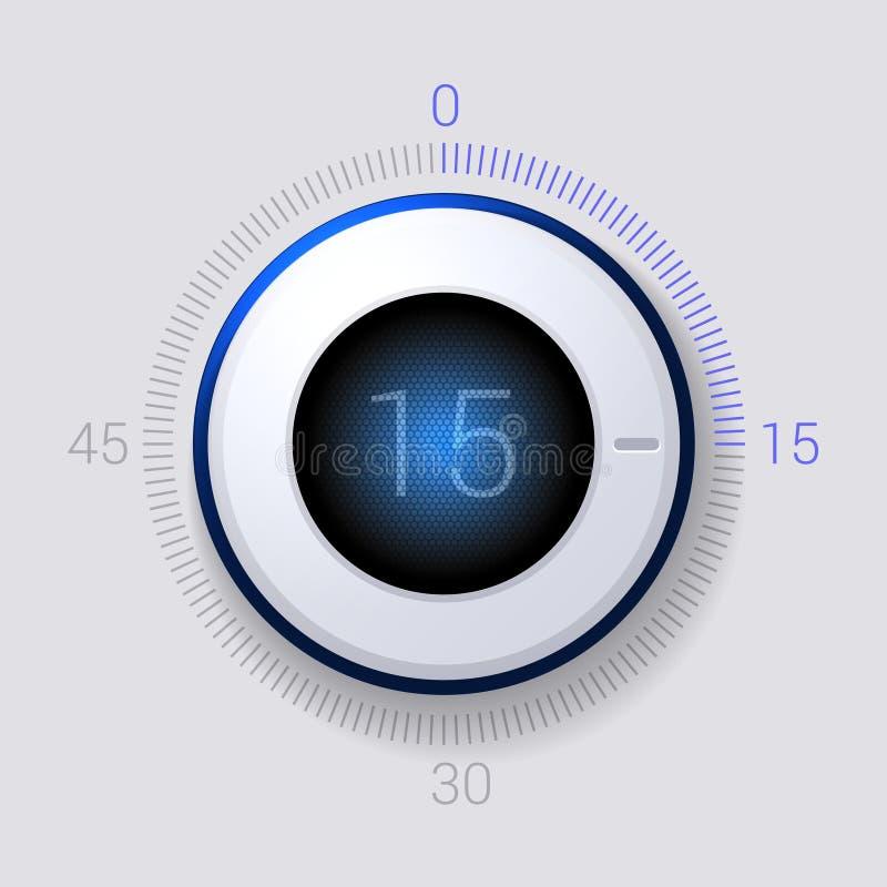 Minuterie électronique de cadran 15 secondes. Vecteur illustration libre de droits