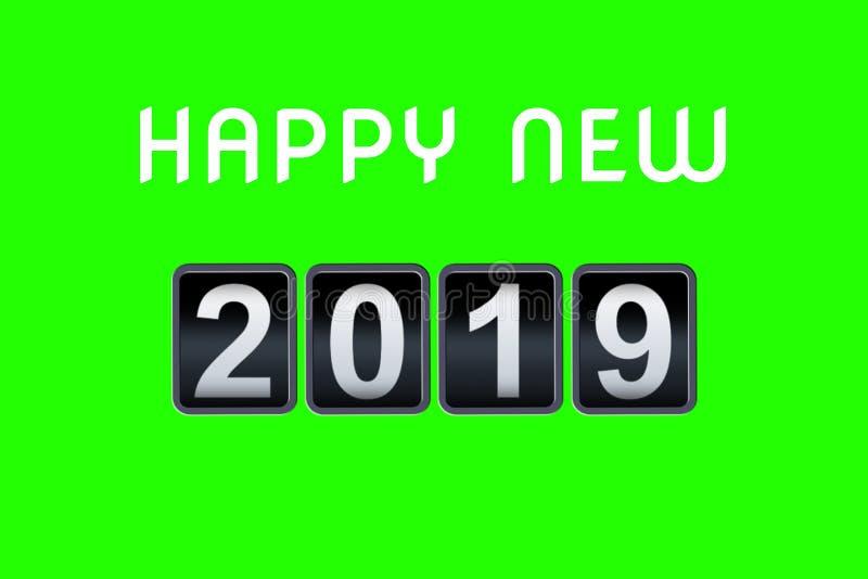 2018 minuterie analogue de compte à rebours de vintage de concept de 2019 bonnes années contre-, rétro année de compteur de nombr illustration de vecteur