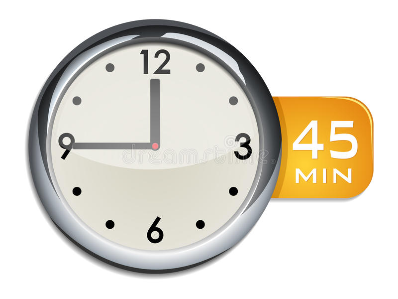 Minuterie d'horloge murale de bureau 45 minutes illustration stock