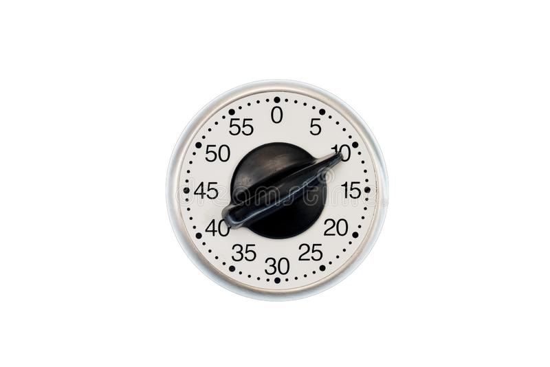 Minuterie de cuisine réglée à 10 minutes d'isolement sur le blanc images stock