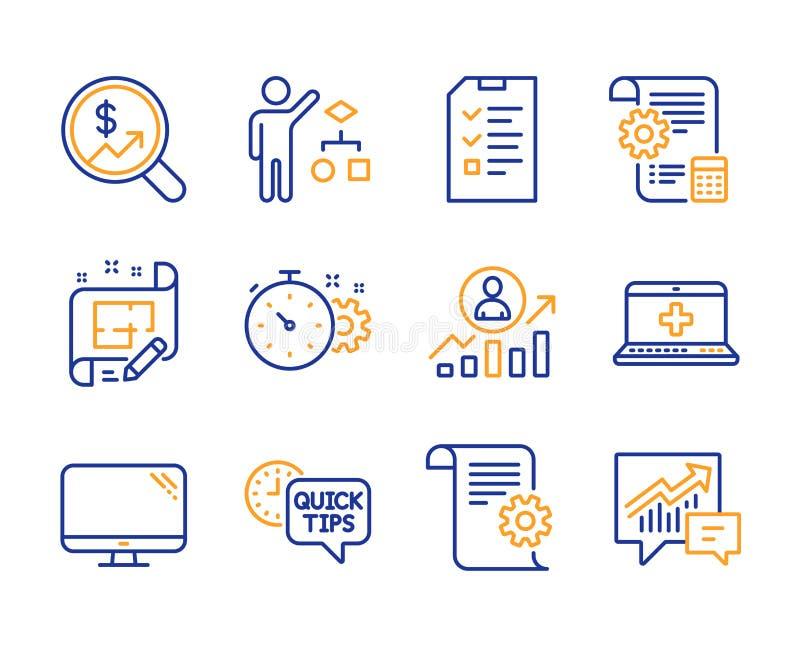 Minuterie de roue dentée, ordinateur et ensemble médical d'icônes d'aide Échelle d'entrevue, de carrière et signes d'algorithme V illustration libre de droits
