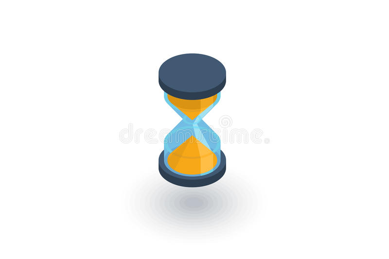 Minuterie, sablier de sable, icône plate isométrique d'horloge en verre vecteur 3d illustration stock