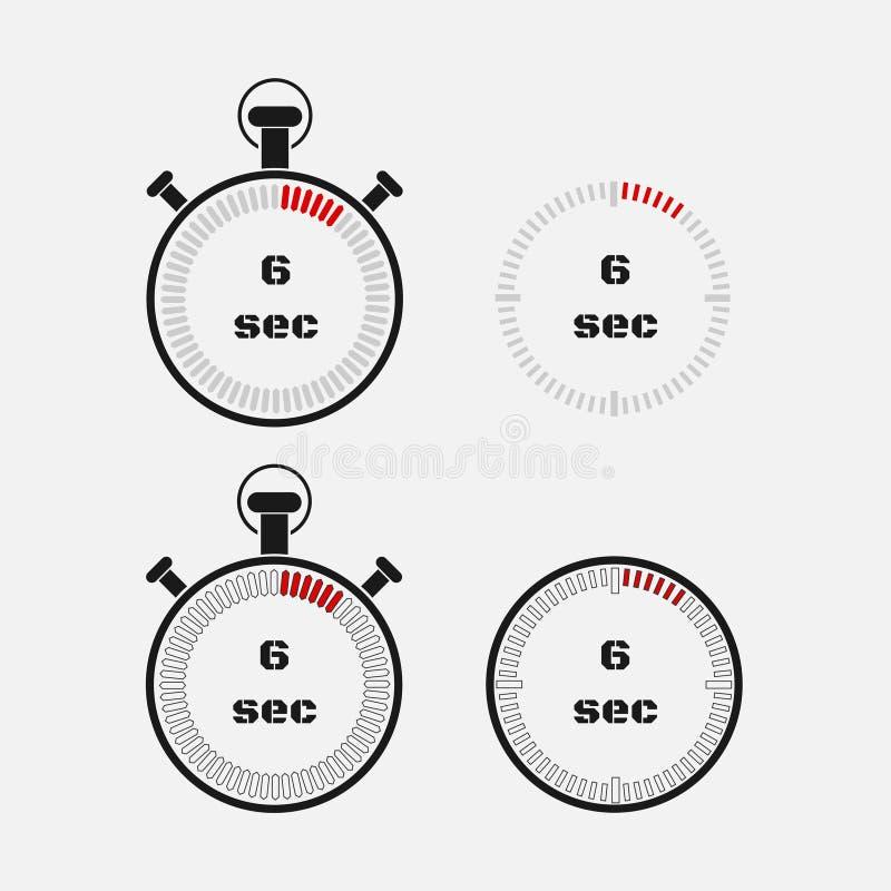 Minuterie 6 secondes sur le fond gris illustration de vecteur