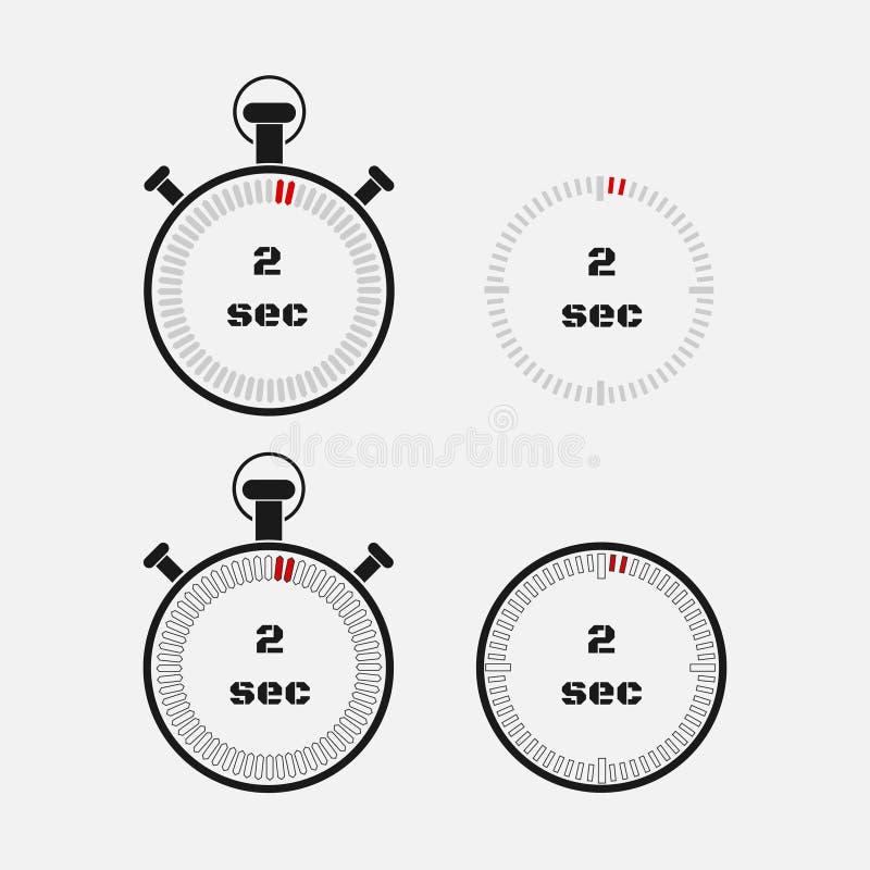 Minuterie 2 secondes sur le fond gris illustration libre de droits