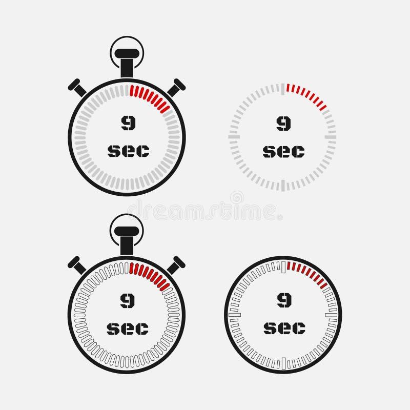 Minuterie 9 secondes sur le fond gris illustration libre de droits