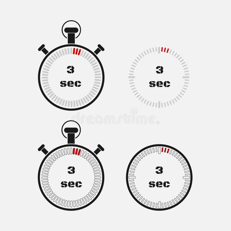 Minuterie 3 secondes sur le fond gris illustration stock