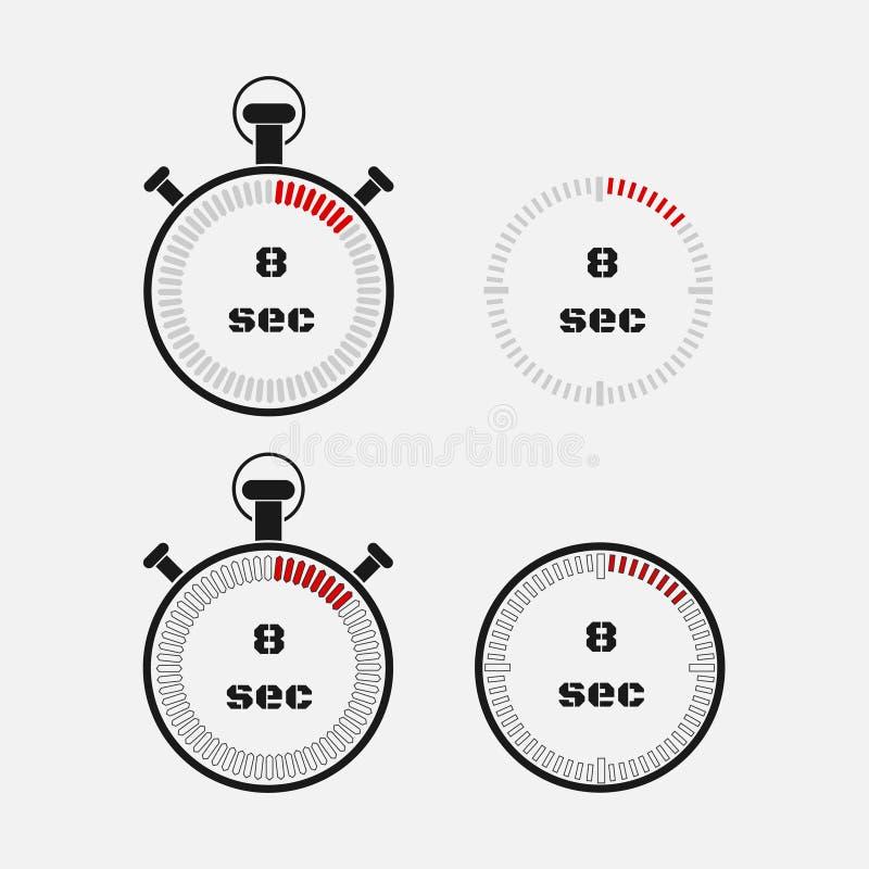 Minuterie 8 secondes sur le fond gris illustration libre de droits