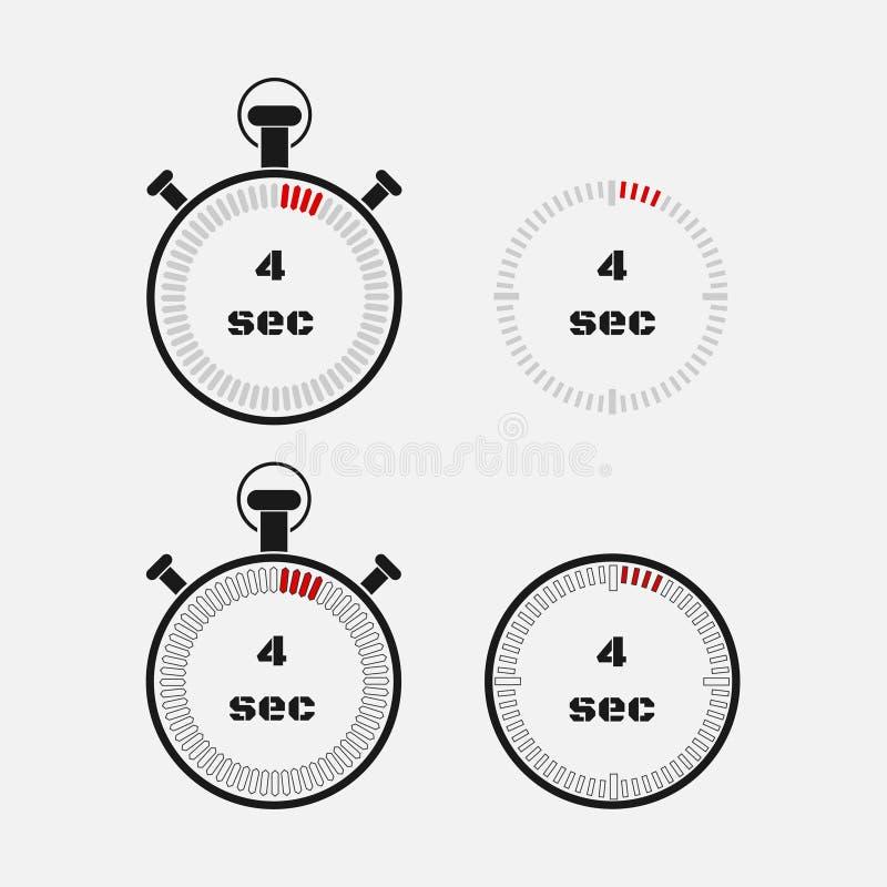 Minuterie 4 secondes sur le fond gris illustration stock