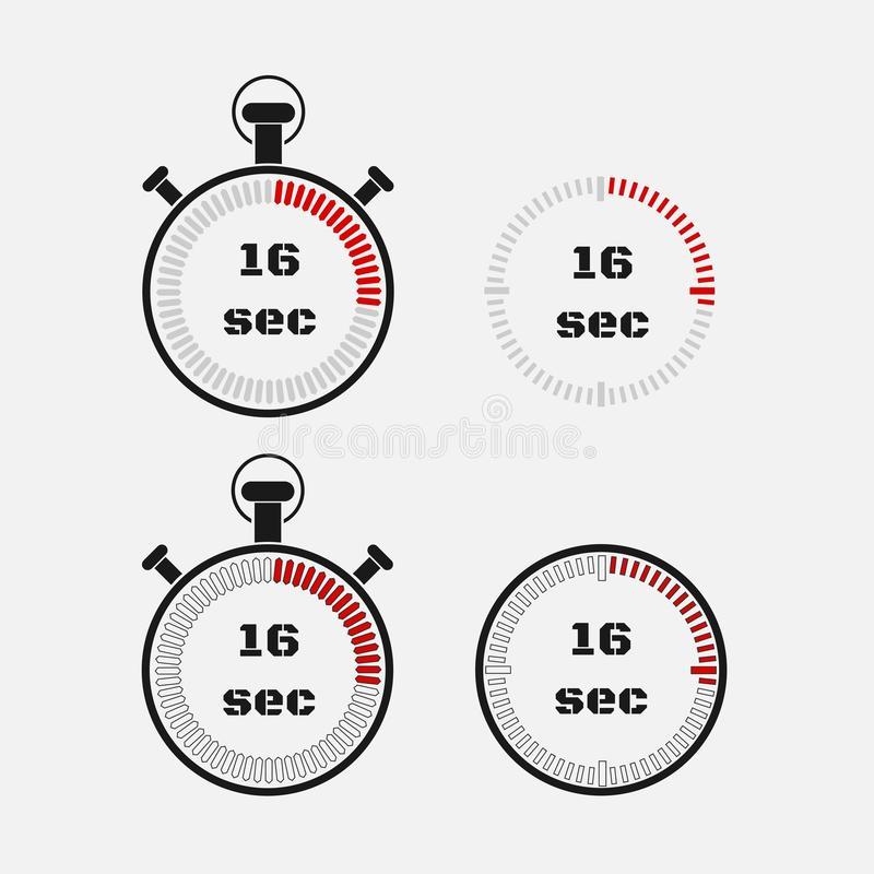 Minuterie 16 secondes sur le fond gris illustration de vecteur