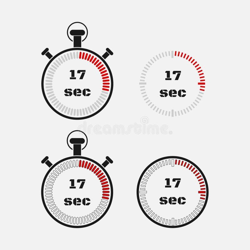 Minuterie 17 secondes sur le fond gris illustration libre de droits