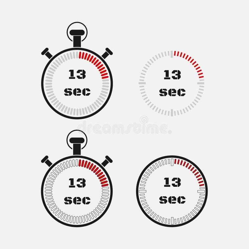 Minuterie 13 secondes sur le fond gris illustration libre de droits