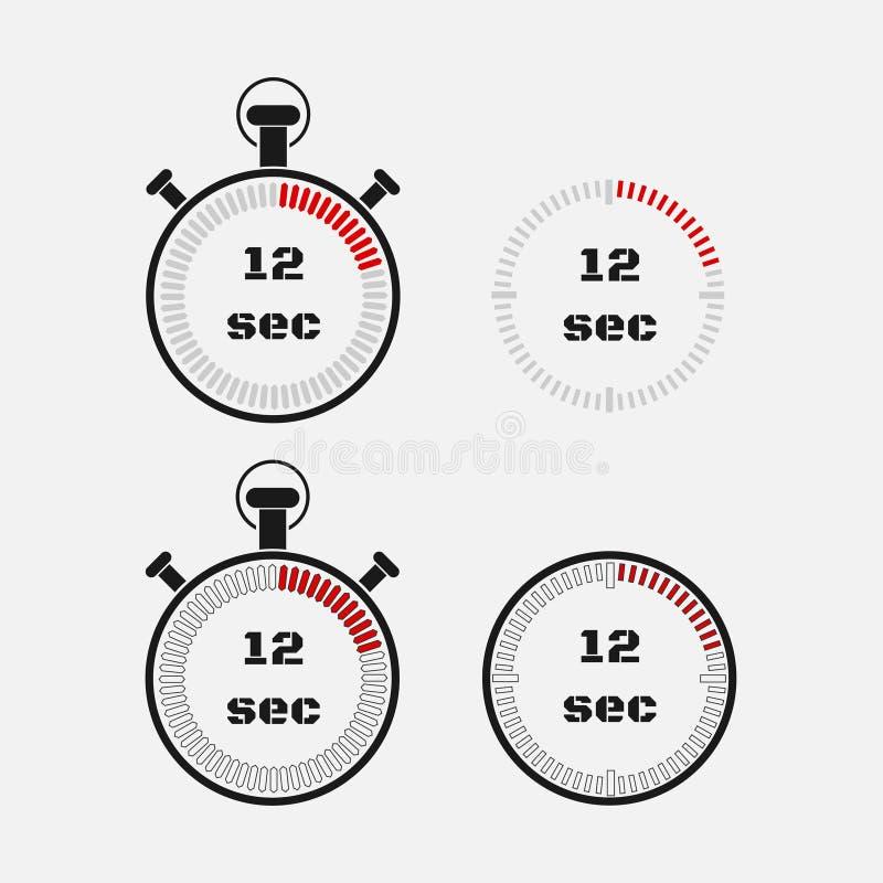 Minuterie 12 secondes sur le fond gris illustration stock