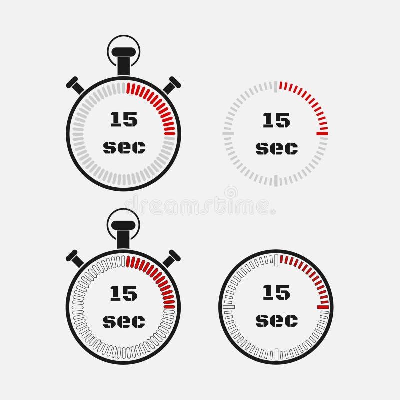 Minuterie 15 secondes sur le fond gris illustration stock