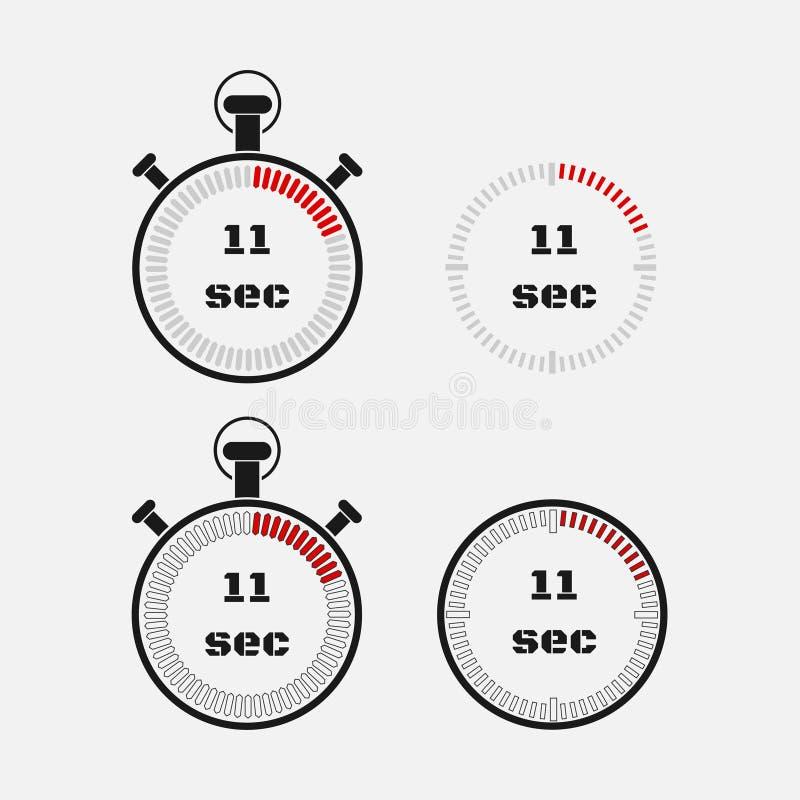 Minuterie 11 secondes sur le fond gris illustration de vecteur