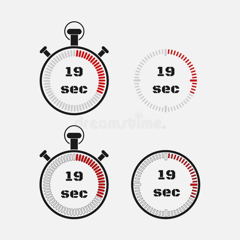 Minuterie 19 secondes sur le fond gris illustration de vecteur