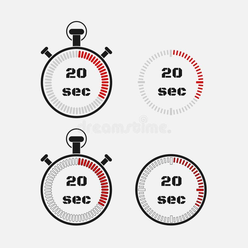 Minuterie 20 secondes sur le fond gris illustration libre de droits